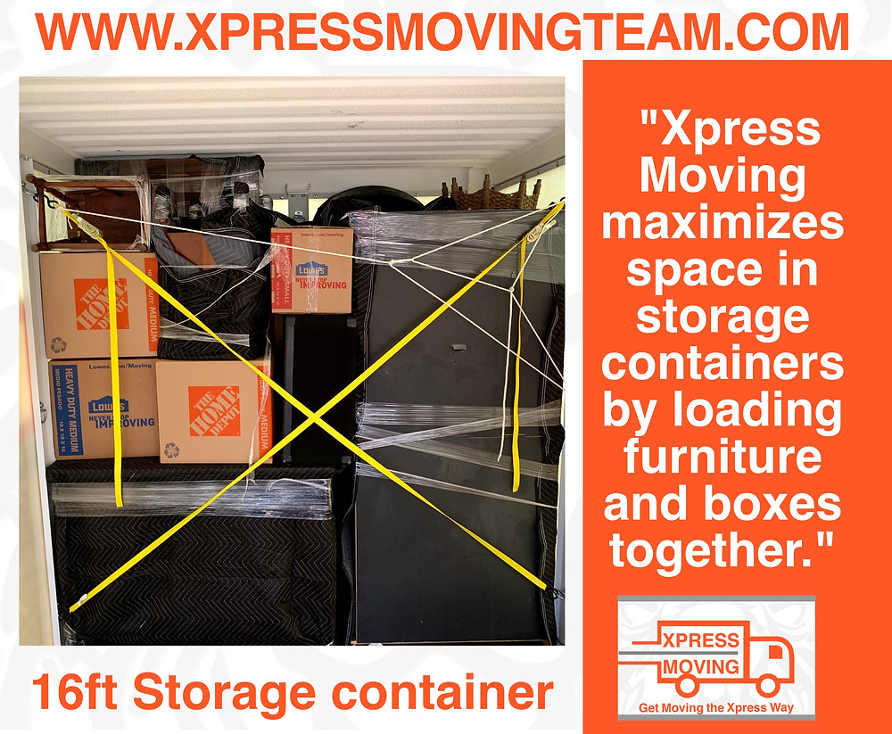 Serving the Greater Austin area the Xpress Moving loads portable storage container.