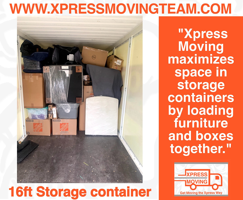 Serving the Cedar Park area Portable storage container loaded by the Xpress Moving Team 512-943-7709