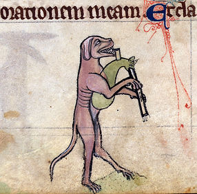 bagpiping dog  book of hours, England ca