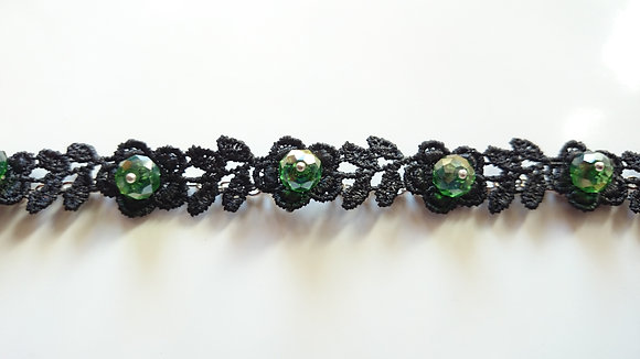Guipure Lace Motif & Green Crystal Gothic Bracelet