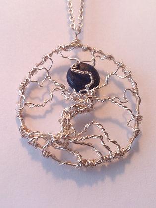 Lapiz Lazuli Moon TREE OF LIFE Necklace
