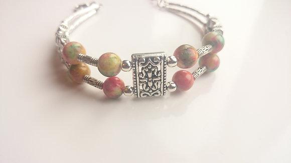 Multi-Coloured Turquoise & Tibetan Silver Bracelet
