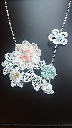 Guipure Lace Motif, Aquamarine & Crystal Necklace