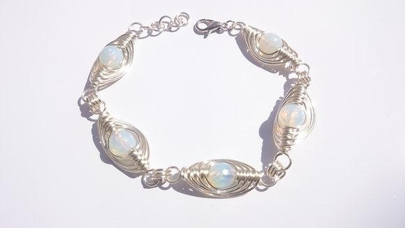 Moonstone Herringbone Weave Bracelet