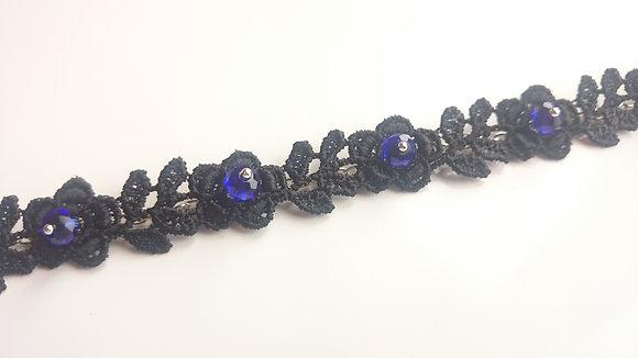 Guipure Lace Motif & Blue Crystal Gothic Bracelet