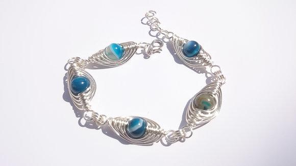 Agate Herringbone Weave Bracelet