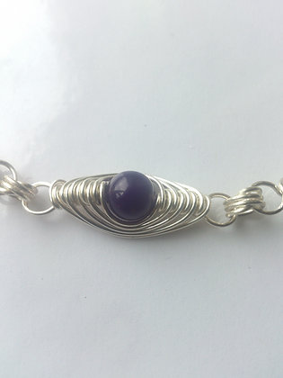 Purple Jade Herringbone Weave Bracelet