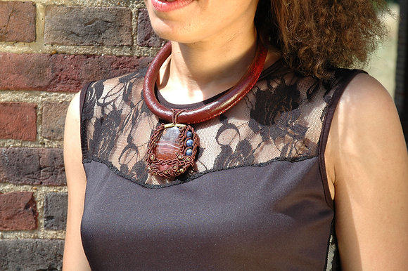 Natural Agate Leather Choker   -   'JAZZ'