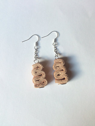 Veg Tan Leather 'Snake' Earrings