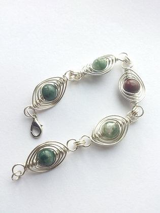 Agate Onyx Herringbone Weave Bracelet