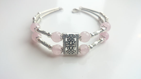 Rose Quartz & Tibetan Silver Antique Bracelet