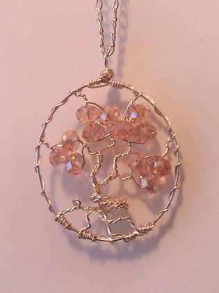 Peach Swarovski Elements TREE OF LIFE Necklace