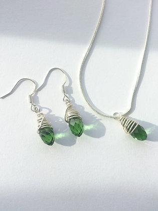 Sterling Silver Green Swarovski Elements Set
