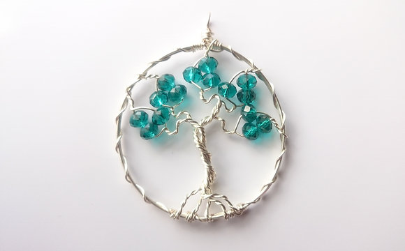 Green/Teal Swarovski Element TREE OF LIFE Necklace