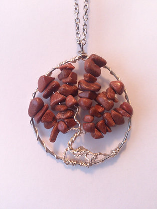 Goldstone Gem TREE OF LIFE Necklace