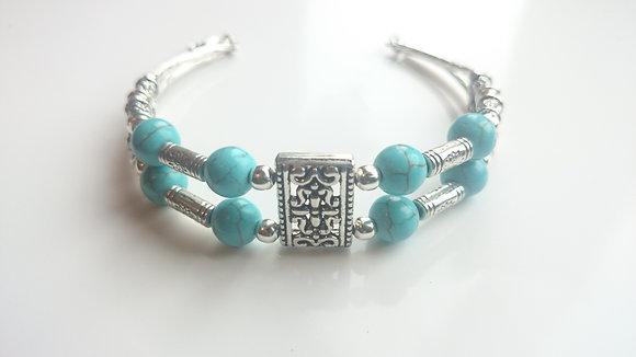 Turquoise & Tibetan Silver Antique Style Bracelet