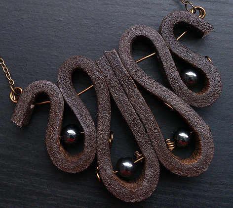 Hematite Leather Necklace