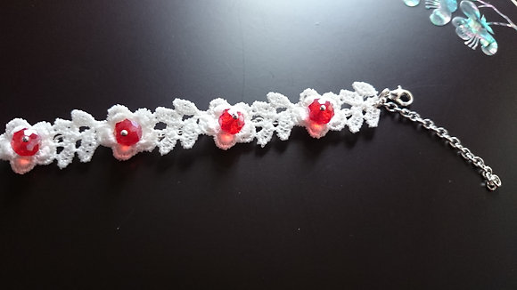 Guipure Lace Motif & Red Crystal Gothic Bracelet