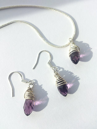 Sterling Silver Purple Swarovski Elements Set