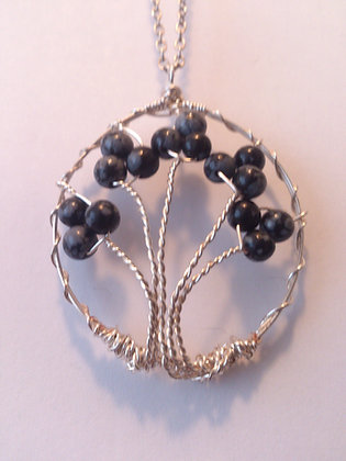 Snowflake Obsidian Gem TREE OF LIFE Necklace