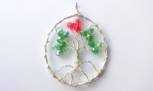 Red/Green Swarovski Elements TREE OF LIFE Necklace