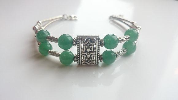 Jade & Tibetan Silver Antique Style Bracelet