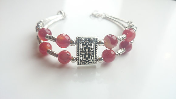 Red Agate & Tibetan Silver Antique Style Bracelet