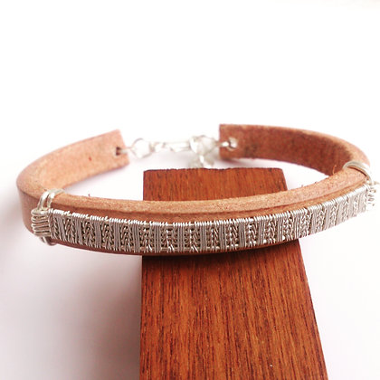 Silver-Plated Copper & Tan Leather Bracelet
