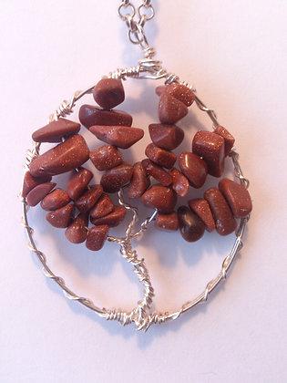 Goldstone Gem TREE OF LIFE Necklace