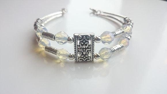 Moonstone & Tibetan Silver Antique Style Bracelet