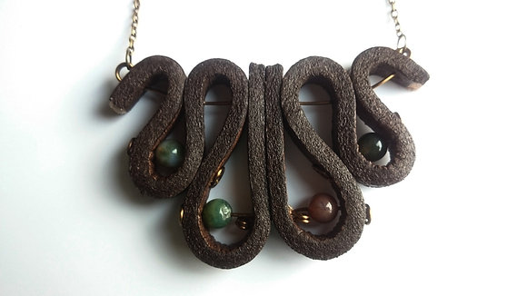 Agate Onyx Leather Necklace