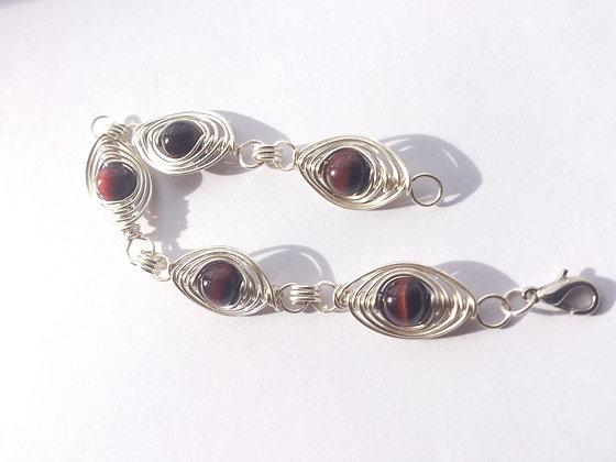 Red Tiger's Eye Herringbone Weave Bracelet