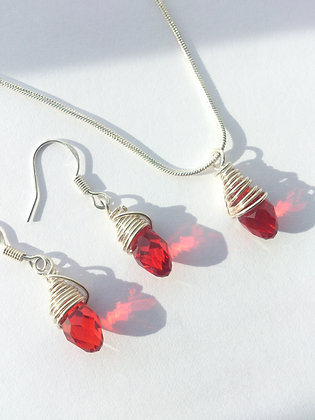 Sterling Silver Red Swarovski Elements Set