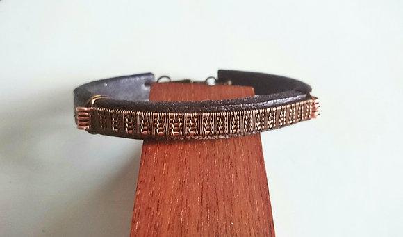 Vintage Bronze, Copper & Leather Bracelet