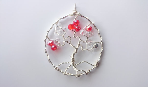 Red/Clear Swarovski Elements TREE OF LIFE Necklace