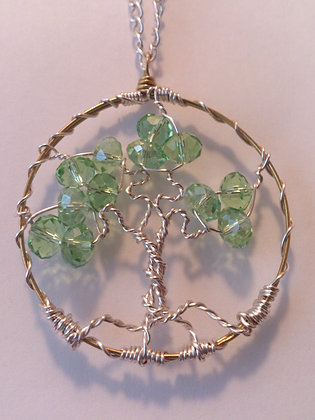 Green Swarovski Elements TREE OF LIFE Necklace