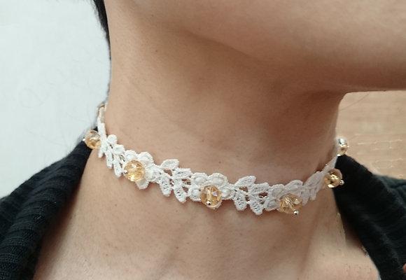 Guipure Lace Motif & Swarovski Crystal Collar