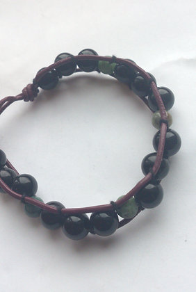 Agate Onyx Leather Bracelet