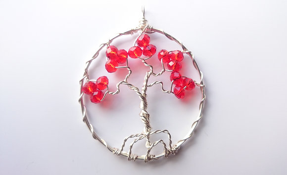 Red Swarovski Elements TREE OF LIFE Necklace