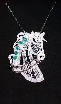 Guipure Lace Horse Swarovski Elements Necklace