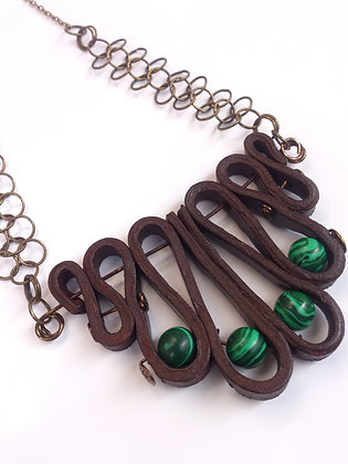 Malachite Leather Necklace