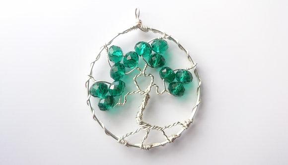Green Swarovski Elements TREE OF LIFE Necklace
