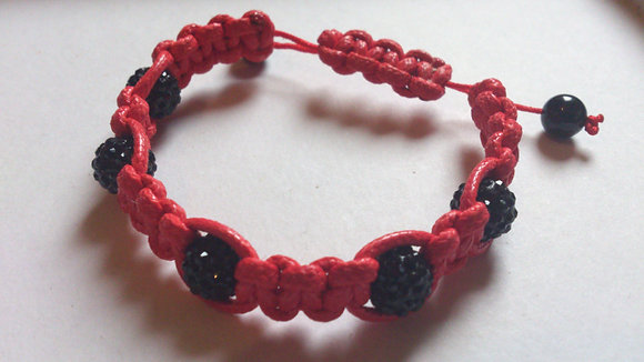 Black Pave Beads & Agate Onyx Shamballa Bracelet