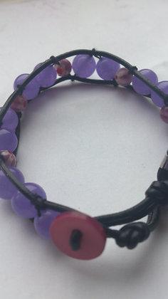 Purple Jade Leather Bracelet