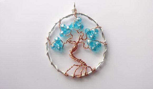 Blue Swarovski Elements TREE OF LIFE Necklace