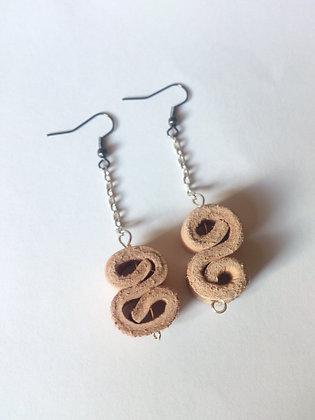 Veg Tan Leather 'S' Earrings