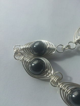 Hematite Herringbone Weave Bracelet