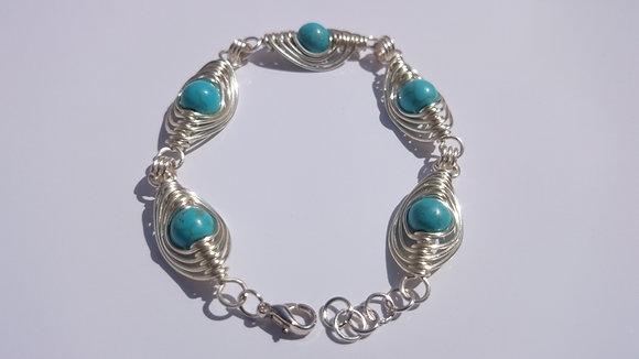 Turquoise Herringbone Weave Bracelet