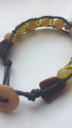 Agate & Sandstone Leather Bracelet