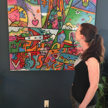 Zoe with the large painting